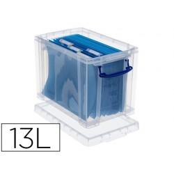 Organizador archivo 2000 plastico transparente con tapa para carpetas colgantes din a4 19 litros 395x255x290