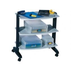 Mesa auxiliar fast-paperflow 3 estantes gris 63x53,4x40 cm