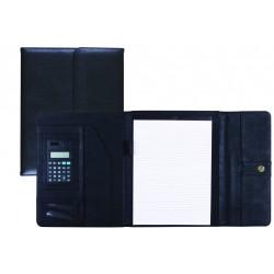 Carpeta portafolios 80-837 negra 315x245 mm con broche con calculadora -con departamentos interiores