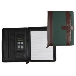 Carpeta portafolios 35-857-mv marron/verde 350x260 mm con cremallera con calculadora-con departamentos interiores