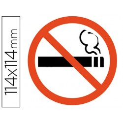 Pictograma adhesivo apli prohibido fumar tamaño 114x114 mm