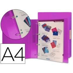 Carpeta liderpapel 4 anillas 25 mm mixtas 43436 polipropileno din a4 violeta serie frosty