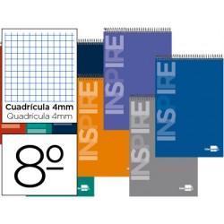 Cuaderno espiral liderpapel bolsillo octavo apaisado inspire tapa dura 80h 60gr cuadro 4mm colores surtidos