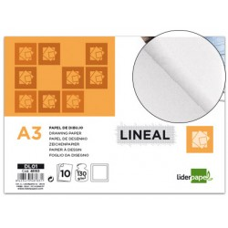 Papel dibujo liderpapel lineal 297x420mm 130g/m2 con recuadro pack de 10