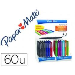 Rotulador paper mate flair original punta fibra expositorde 60 unidades colores surtidos