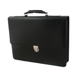 Cartera portafolios artesania simil piel color negro con broche 360x400x74 mm
