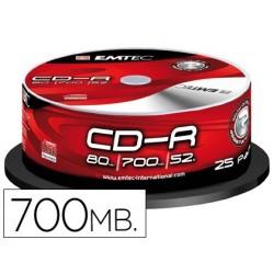 Cd-r emtec capacidad 700mb dur acion 80min velocidad 52x bote 25 unidades