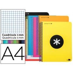 Cuaderno espiral liderpapel a4 micro antartik tapa plastico 120h 100 gr cuadro 5mm 5 bandas 4 taladros colores surtidodo