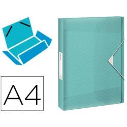 Carpeta esselte proyectos colour ice polipropileno din a4 lomo 40 mm color azul cierre gomas