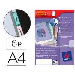 Separador avery de plastico con 6 pestañas de indice personalizable tamaño a4