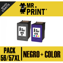 56XL/57XL HP Pack Cartuchos Negro+Color  Remanufacturados