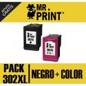 302XL V3 Pack negro y color compatible para HP