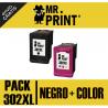 PACK HP302XL (F6U68AE) Cartucho Negro + Color HP Remanufactured