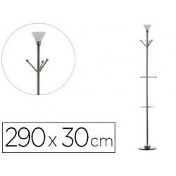 Perchero metalico archivo 2000 con lampara halogena y paraguero 6 colgadores acero altura 1850 mm
