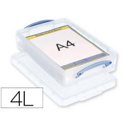 Organizador archivo 2000 plastico transparente con tapa4 litros 85x255x395 mm