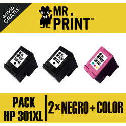 301XL HP Pack 3 cartuchos (2 negros + color) Remanufacturados