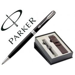 Boligrafo parker sonnet laca negra ct + funda de piel en set de regalo