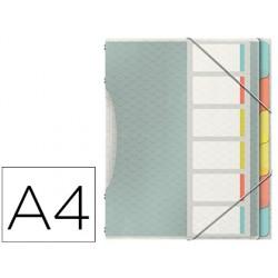 Carpeta esselte clasificadora colour ice polipropileno din a4 color transparente 6 separadores colores cierre