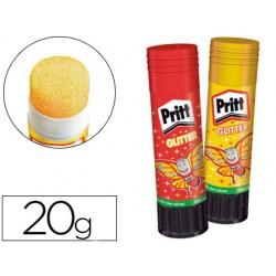Pegamento pritt en barra 20 gr glitter glue stick efecto color amarillo y rojo