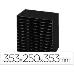 Archivador modular cep poliestireno negro 12 casillas 353x250x353 mm