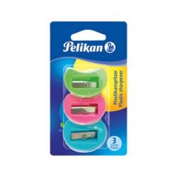 Sacapuntas pelikan plastico 1 uso a101 blister 3 unidades colores surtidos