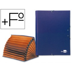 Carpeta clasificadora liderpapel 12 departamentos folio prolongado carton forrado azul fuelle