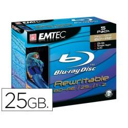 Dvd bd-re emtec capacidad 25gb velocidad 2x blue ray regrabable caja -5 unidades-