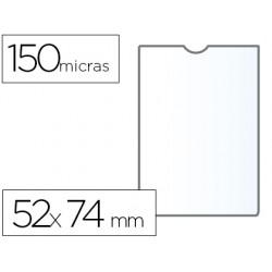 Funda portadocumento q-connect din a8 150 micras pvc transparente con uñero 52x74 mm