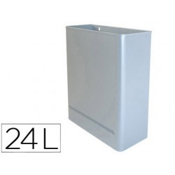 Papelera metalica de pared 24l. 460x350x150 mm plata