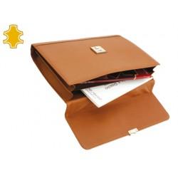 Cartera portafolios artesania de piel color crema con broche 265x380x65 mm