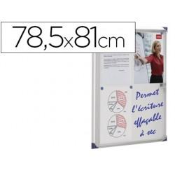 Vitrina de anuncios nobo mural magnetica extraplana de interior con puerta y marco con cerradura de aluminio