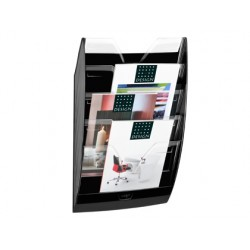 Expositor mural cep de pared con 5 compartimentos transparente y negro 580x122x350mm