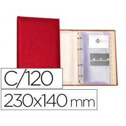 Tarjetero autograph 4 anillas 20 fundas con indice alfabetico para 120 tarjetas 230x140 mm color rojo