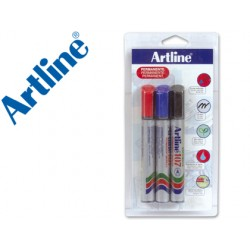 Rotulador artline marcador permanente 107 -punta redonda -blister de 3 unidades (1 negro 1 rojo 1 azul)