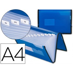 Carpeta liderpapel clasificador fuelle 32452 polipropileno din a4 azul con ribete negro 13 departamentos