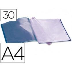 Carpeta liderpapel escaparate 37922 30 fundas polipropileno din a4 azul