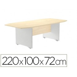 Mesa de reunion rocada meeting 3003ab04 estructura madera gris aluminio tablero madera blanco 220x100x72 cm