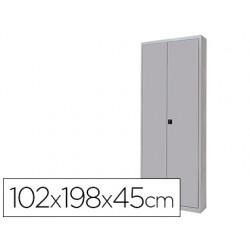 Armario metalico rocada dos puertas batientes incluye cuatro balda 102x198x45 cm acabado ac00 gris/gris