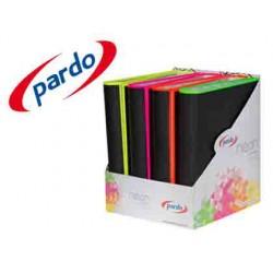 Carpeta pardo 4 anillas 40mm carton forrado din a4 lomo curvo con borde neon colores surtidos expositor de 8
