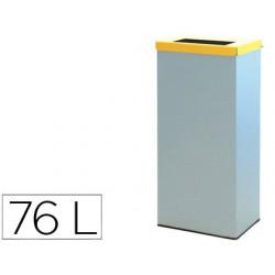 Contenedor papelera reciclaje con tapa abatible y aro interior capacidad 76 litros 81x36,5x26 cms