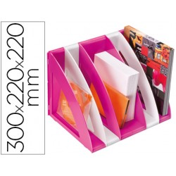Revistero cep plastico modular con 5 compartimentos color blanco y rosa 300x220x220 mm