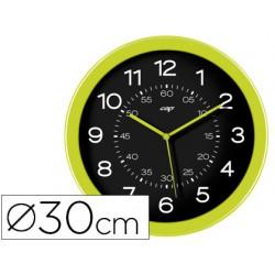Reloj cep de pared plastico oficina redondo 30 cm de diametro color verde y esfera color negro