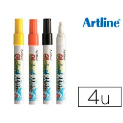 Rotulador artline glass marker especial cristal borrable en seco o humedo expositor 36 uds colores surtidos