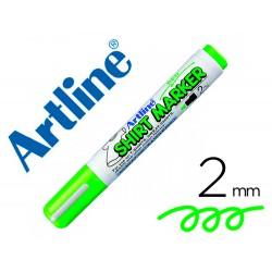 Rotulador artline camiseta ekt-2 verde fluorescente punta redonda 2 mm para uso en camisetas