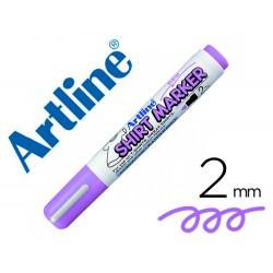 Rotulador artline camiseta ekt-2 violeta fluorescente punta redonda 2 mm para uso en camisetas