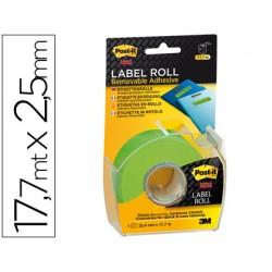 Etiqueta adhesiva post-it super stick removibles en rollo 2,54mm x 17,7mt color verde