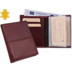 Cartera de bolsillo con tarjetero y billetero fabricado en piel 10,3x7,8 cm
