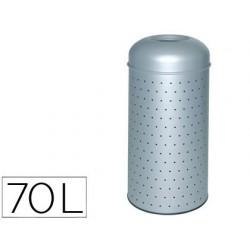 Papelera metalica perforada con cubo interior 390x850 mm