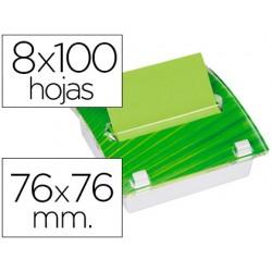 Soporte bloc de notas adhesivas post-it millenium con 8 bloc verde
