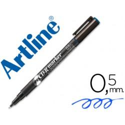 Rotulador artline para cd punta de fibra permanente ek-883 azul 0.5 mm -blister de 1 unidad